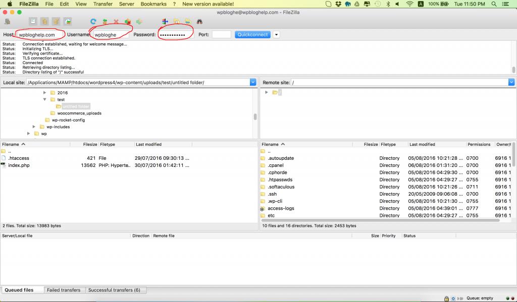 filezilla software screen